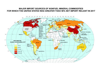 America global mineral dependency map