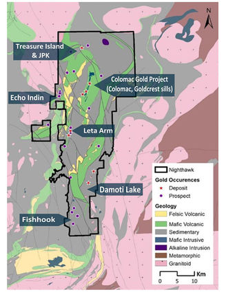 Nighthawk Gold Corp.'s Indin Lake gold property map Northwest Territories