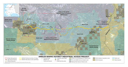 Ambler Mining District Industrial Access Road map, AIDEA, Trilogy Metals